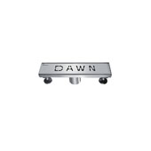 12'' Dawn Series Linear Shower Drain in Polished Satin Finish, 12'' W x 3'' D x 3-1/8'' H