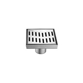 5'' Ganges River Series Square Shower Drain in Polished Satin Finish, 5-1/4'' W x 5-1/4'' D x 3-3/8'' H