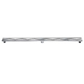 59'' Ganges River Series Linear Shower Drain in Polished Satin Finish, 59'' W x 3'' D x 3-1/8'' H