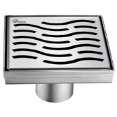 5'' W Heilongjia Series Square Stainless Steel Shower Drain in Polished Satin Finish, 5-1/4'' W x 5-1/4'' D x 3-3/8'' H