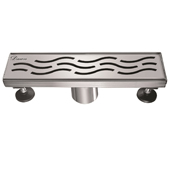 12'' W Heilongjiang Series Linear Stainless Steel Shower Drain in Polished Satin Finish, 12'' W x 3'' D x 3-1/8'' H