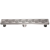 24'' W Heilongjiang Series Linear Stainless Steel Shower Drain in Polished Satin Finish, 24'' W x 3'' D x 3-1/8'' H