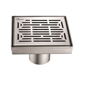 5'' W Irtysh River Series Square Stainless Steel Shower Drain in Polished Satin Finish, 5-1/4'' W x 5-1/4'' D x 3-3/8'' H