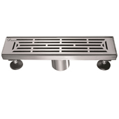 12'' W Irtysh River Series Linear Stainless Steel Shower Drain in Polished Satin Finish, 12'' W x 3'' D x 3-1/8'' H