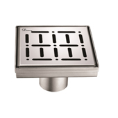 5'' W The Loire River in France Series Square Stainless Steel Shower Drain in Polished Satin Finish, 5-1/4'' W x 5-1/4'' D x 3-3/8'' H