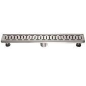 24'' W The Loire River in France Series Linear Stainless Steel Shower Drain in Polished Satin Finish, 24'' W x 3'' D x 3-1/8'' H