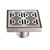 5'' W Mamore River in Brazil Series Square Stainless Steel Shower Drain in Polished Satin Finish, 5-1/4'' W x 5-1/4'' D x 3-3/8'' H