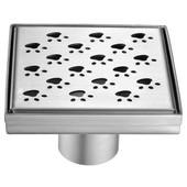 Memuru River Series - Square Shower Drain 5''L, Polished Satin Finish, 5-1/4'''W x 5-1/4''D x 3-1/8''H