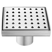 Nile River Series - Square Shower Drain 5''L, Polished Satin Finish, 5-1/4'''W x 5-1/4''D x 3-1/8''H