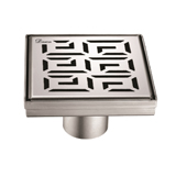 5'' W The River Niger in Mali Series Square Stainless Steel Shower Drain in Polished Satin Finish, 5-1/4'' W x 5-1/4'' D x 3-3/8'' H
