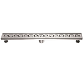 32'' W The River Niger in Mali Series Linear Stainless Steel Shower Drain in Polished Satin Finish, 32'' W x 3'' D x 3-1/8'' H