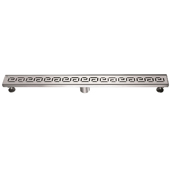 36'' W The River Niger in Mali Series Linear Stainless Steel Shower Drain in Polished Satin Finish, 36'' W x 3'' D x 3-1/8'' H
