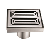 5'' W Parana River in Argentina Series Square Stainless Steel Shower Drain in Polished Satin Finish, 5-1/4'' W x 5-1/4'' D x 3-3/8'' H