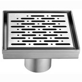 ® Rio Orinoco River Series Square Stainless Steel Shower Drain in Polished Satin Finish, 5-3/32'' W x 5-3/32'' D x 3-1/8'' H