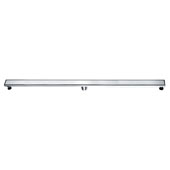 59'' Volga River Series Linear Shower Drain in Polished Satin Finish, 59'' W x 3'' D x 3-1/8'' H
