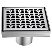 5'' W Views Along The River Nile Series Square Stainless Steel Shower Drain in Polished Satin Finish, 5-1/4'' W x 5-1/4'' D x 3-3/8'' H