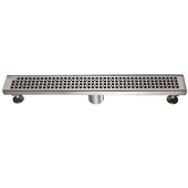24'' W Views Along the River Nile Series Linear Stainless Steel Shower Drain in Polished Satin Finish, 24'' W x 3'' D x 3-1/8'' H