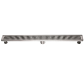 36'' W Views Along the River Nile Series Linear Stainless Steel Shower Drain in Polished Satin Finish, 36'' W x 3'' D x 3-1/8'' H