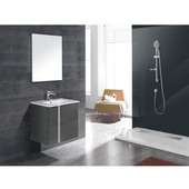 24-1/16'' Wide Single Vanity Set; Sink Top, Cabinet, & Frameless Mirror, Anthracite Finish, 24-1/16''W x 18-1/8''D x 23''H
