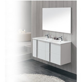 Onix Series 47-5/8'' Wide Double Vanity Set (2 Cabinets, 1 Countertop, 2 Mirrors) White Finish