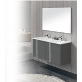 Onix Series 47-5/8'' Wide Double Vanity Set (2 Cabinets, 1 Countertop, 2 Mirrors) Anthracite Finish
