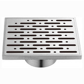 ® Rio Orinoco River Series Square Threaded Stainless Steel Shower Drain in Polished Satin Finish, 5-3/32'' W x 5-3/32'' D x 2'' H