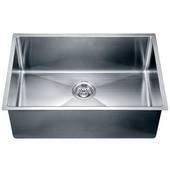 26-1/2''W x 18''D x 10''H, Undermount Small Corner Radius Single Bowl Sink in Polished Satin Finish