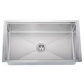 Undermount 18 Gauge Small Radius Single Bowl Kitchen Sink, 33-1/8''W x 19-3/16''D x 10''H