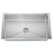 Undermount 18 Gauge Small Radius Single Bowl Kitchen Sink, 33-1/8''W x 19-3/16''D x 10''H