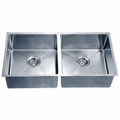 34-3/16''W x 17-3/16''D x 9''H, Undermount Small Corner Radius Equal Double Bowl Sink in Polished Satin Finish