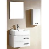 23-1/4''W European Bathroom Vanity Set: Sink Top, Sink Cabinet, Side Cabinet & Mirror In Glossy White