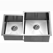® Kitchen Stainless Steel Undermount Extra Small Corner Radius Rectangle Double Bowls (Large Bowl Right) in Polished Satin Finish, 33''W x 20-1/2''D x 10-1/2''H