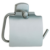 Cabin Brushed Chrome Toilet Roll Holder with Lid European Style 1¾'' Depth