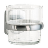 Cabin Brushed Chrome Holder with Glass Tumbler 4-1/8'' Depth