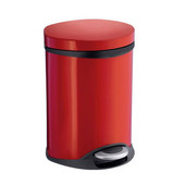 Outline Lite Collection Trash Pedal Bin 1.58 Gallon in Red Lacquered Stainless Steel, 9-1/2'' Diameter x 9'' D x 12-1/2'' H