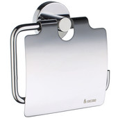 Home Line European Style Polished Chrome Toilet Roll Holder with Lid 1-1/2'' D