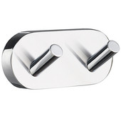 Home Line Polished Chrome Double Towel Hook 3-1/2'' W