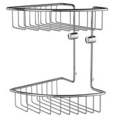 Home Line Polished Chrome Double Tier Soap Basket 8-1/8'' W x 8-1/8'' D x 11-5/8'' H