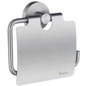 Home Line European Style Brushed Chrome Toilet Roll Holder with Lid 1-1/2'' D