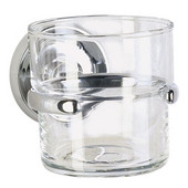 Villa Polished Chrome Holder with Clear Glass Tumbler 3-7/8''Depth