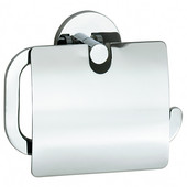 Loft Polished Chrome European Style Toilet Roll Holder with Lid 1-1/2''Depth