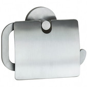 Loft Brushed Chrome European Style Toilet Roll Holder with Lid 1-1/2''Depth
