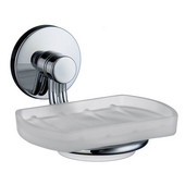 Studio Polished Chrome Holder with Frosted Glass Soap Dish 4�''