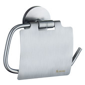 Studio Brushed Chrome European Style Toilet Roll Holder with Lid