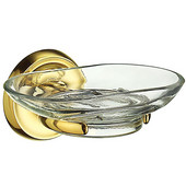 Villa Polished Brass Holder with Clear Glass Soap Dish, 4-3/8'' D