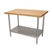 Maple Top Table, w/ Undershelf, 36'' W x 24'' D x 35'' H