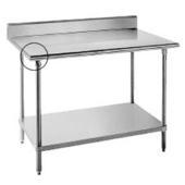 Bull Nose Table, Backsplash, w/ Rear Bar, 60'' W x 30'' D x 35'' H