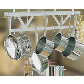 Stainless Steel Ceiling Mounted Pot Rack without Grid Shelf, 36'', 48'', 60'' and 72'' Widths Available