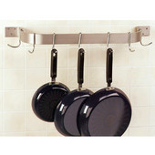 Stainless Steel Wall Mounted Single Bar Pot Racks, 36'' - 120'' Widths Available