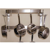Stainless Steel Wall Mount Double Bar Pot Rack 36'' W (24''-144'' Widths Available)